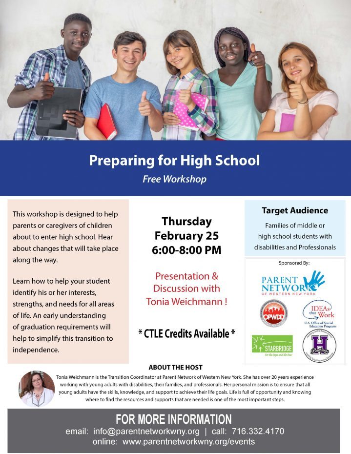Flyer for preparing for high school on February 25th6 pm to 8 pm register below