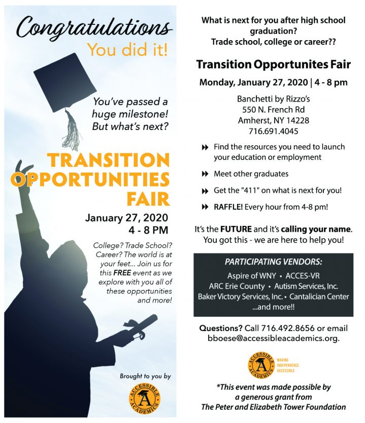"""Transition opportunities fair January 27, 2020 4-SPM College? Trade School? Career? The world is at your feet... Join us for this FREE event as we explore with you all of these opportunities and moreWhat is next for you after high school graduation? Trade school, college or career?? Transition Opportunites Fair Monday, January 27, 2020 I 4- 8 pm Banchetti by Rizzo's 550 N. French Rd Amherst, NY 14228 716.691.4045 ►► Find the resources you need to launch your education or employment ►► Meet other graduates ►► Get the """"411"""" on what is next for you! ►► RAFFLE! Every hour from 4-8 pm! It's the FUTURE and it's calling your name. You got this - we are here to help you! PARTICIPATING VENDORS: Aspire ofWNY • ACCES-VR ARC Erie County • Autism Services, Inc. Baker Victory Services, Inc.• Cantalician Center ...and more!! Questions? Call 716.492.8656 or email bboese@acc essibleacademics.org."""