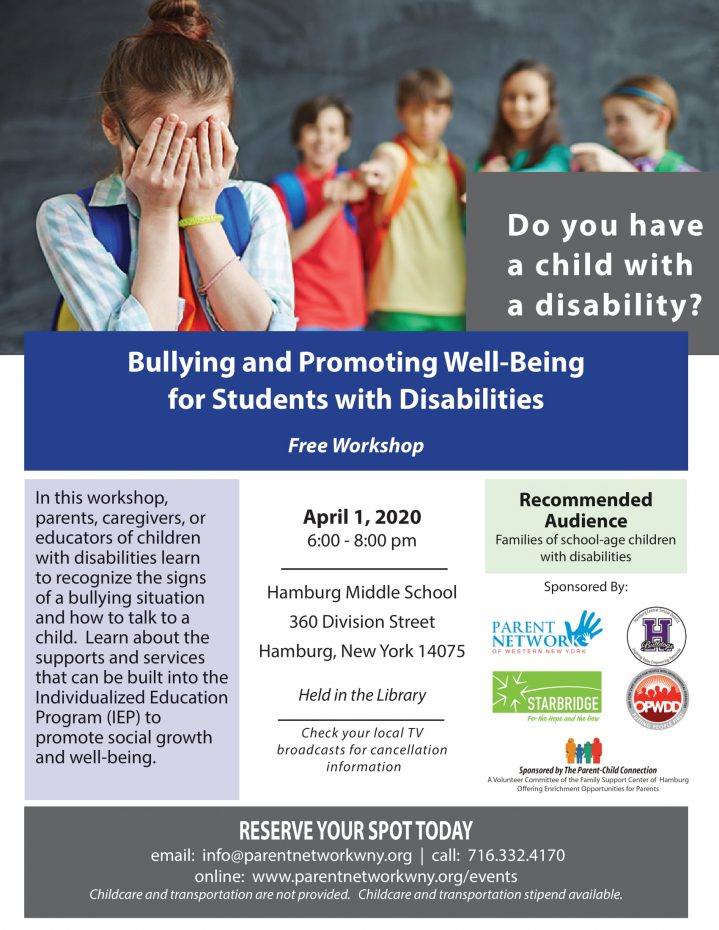 In this workshop, parents, caregivers, or educators of children with disabilities learn to recognize the signs of a bullying situation and how to talk to a child. Learn about the supports and services that can be built into the Individualized Education Program (IEP) to promote social growth and well-being.