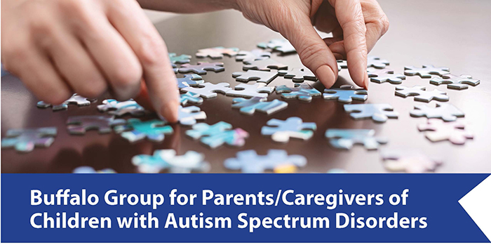 photo of puzzle pieces and two hands with the words Buffalo Group for Parents/Caregivers of Children with Autism Spectrum Disorders underneath
