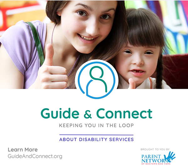 2 girls giving thumbs up and guide & connect logo