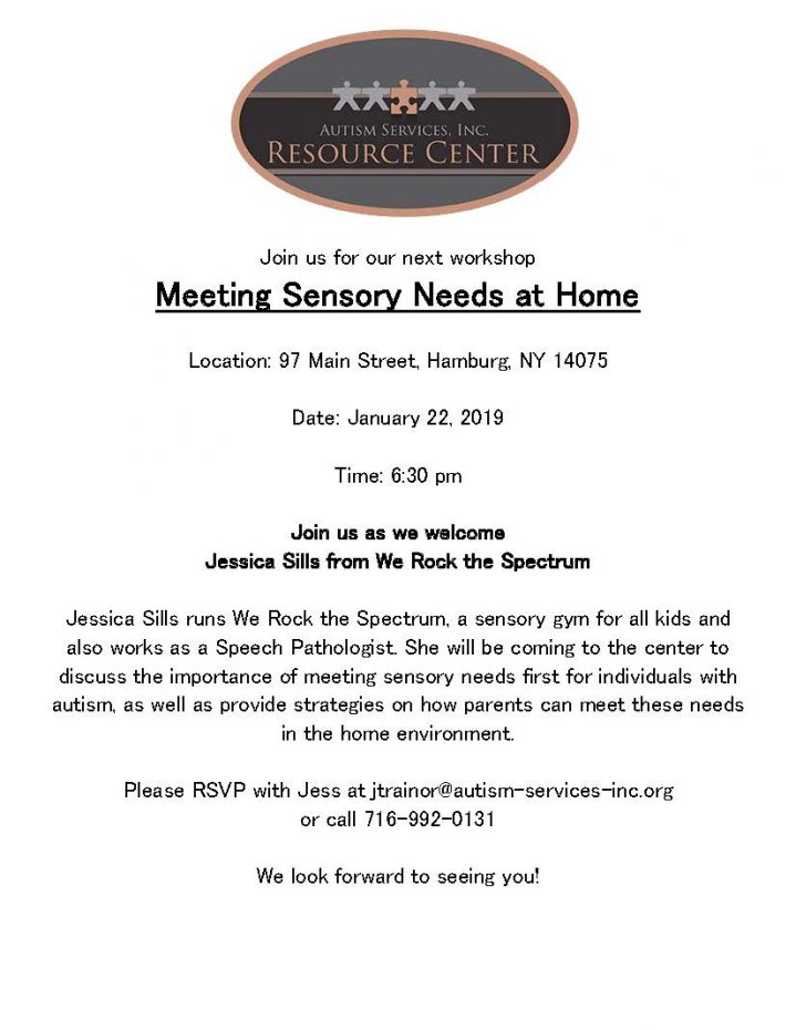 Meeting Sensory Needs At Home Workshop 1 22 Parent Network Of Wny