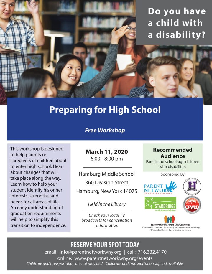 This workshop is designed to help parents or caregivers of children about to enter high school. Hear about changes that will take place along the way. Learn how to help your student identify his or her interests, strengths, and needs for all areas of life. An early understanding of graduation requirements will help to simplify this transition to independence.