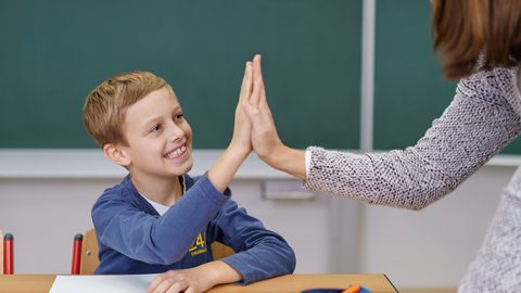 student teacher high five