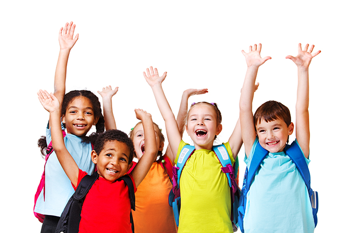 Five kids with hands in the air